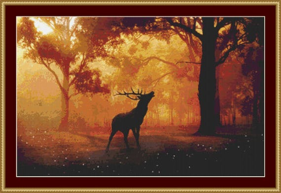Stag In The Forest  Cross Stitch Pattern /Digital PDF Files /Instant downloadable