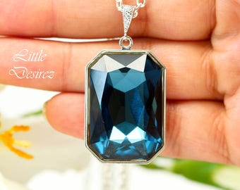 Navy Blue Necklace Swarovski Crystal Emerald Cut Montana Blue Necklace Large Pendant Statement Jewelry Bridesmaid Gift Fashion Jewelry MO41