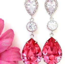 Hot Pink Earrings Fuchsia Earrings Swarovski Pear Crystal Bridal Earrings Rose Pink Magenta Fuchsia Bridesmaids Pink Earrings RP31PC