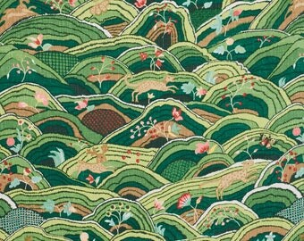 SCHUMACHER WHIMSICAL ANIMALS Country Rolling Hills Fabric 10 Yards Green Multi