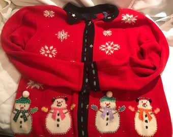 Vintage Christmas Sweater Snowman Sweater Size Medium Retro Christmas Sweater Ugly Christmas Sweater