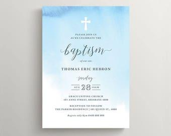Boy Baptism Invitation \ Blue Watercolour Invite (CH64)