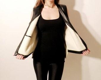 SALE Sherpa Vest / Vintage Vest / Black Faux Vest / Faux Leather Vest / Man Vest / Black Vest / Warm Vest / Man Size 52