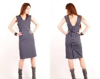 25% OFF Vintage Grey Dress / Striped Dress / Sleeveless Dress / Medium Dress / Midi Dress / Day Dress / Official Dress /Gray Dress / Button
