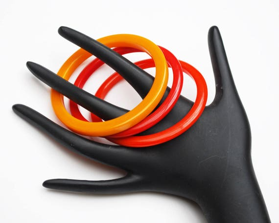 Three Bakelite Bracelet - red Orange Mustard Yellow  - Boho vintage Art Deco plastic bangles