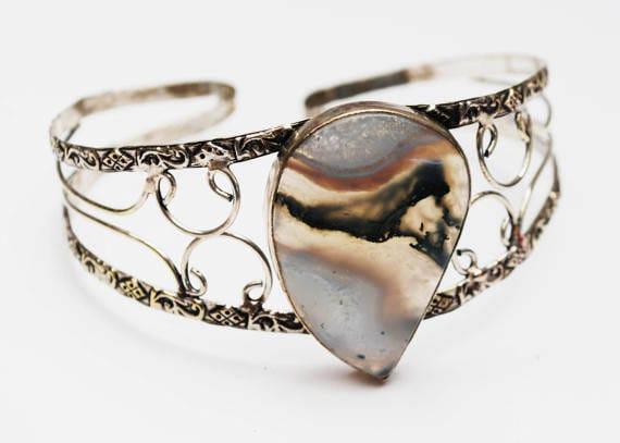 Sterling Agate Bracelet - Large cuff Bangle- Silver Scroll - Gemstone bracelet