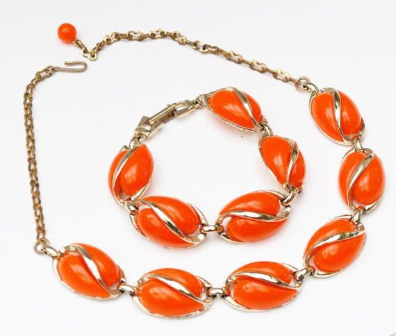 Neon Orange Thermoset Necklace Bracelet set - light gold metal - Mid Century -