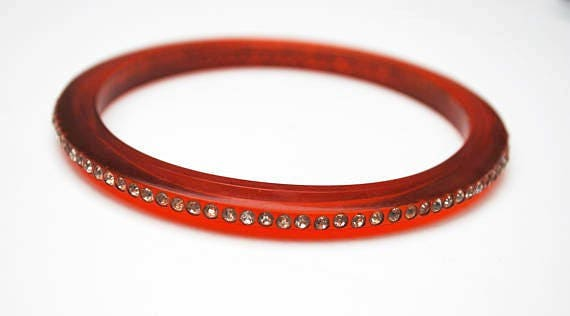 Red Lucite  Rhinestone Bangle  - thin plastic - clear crystal  - vintage Bracelet