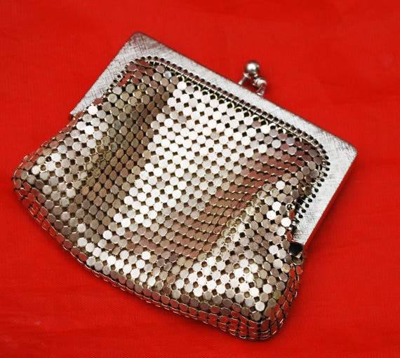 Silver Mesh Change Purse -Whiting and  Davis signed -  small silver  metal clutch - coin pouch
