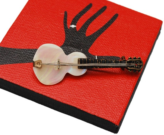 Guitar Brooch - Mother Of pearl - Signed Japan - white MOP - black enameling  - gold brass - music Pin