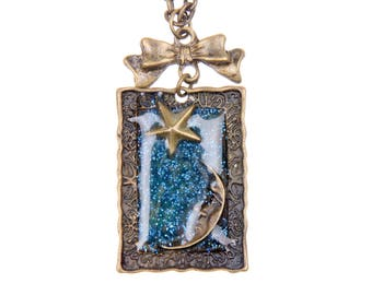 Crescent Moon and star Necklace resin blue Galaxy Charm vintage Necklace Jewelry Bronze Jewelry