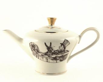 Alice in Wonderland, Altered Art, Tea Party, Wedding Gift, Vintage Porcelain Teapot, Whimsy Pot, Whimsical Gift, Shabby Chic,  Lewis Carroll