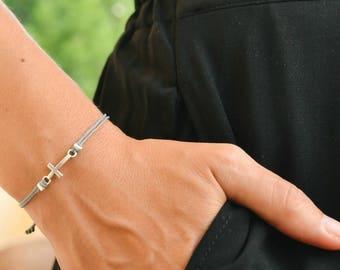 Cross bracelet, women bracelet with silver cross charm, christian catholic jewelry, gray cord, gift for her, adjustable sliding knot
