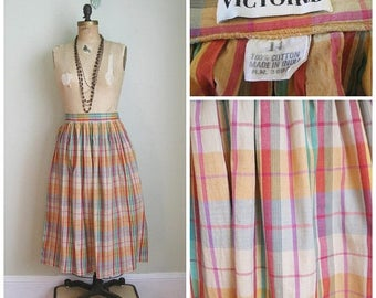 Summer Clearout Vintage 1980's Cotton Madras Summer Skirt// Size Med/Large