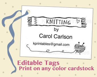 INSTANT DOWNLOAD ~ Knitting by ~ Editable ~ Printable ~ Hang Tags ~ Knitted Gift Tags ~ Vendor Tags ~ DIY ~ Gift Tags ~ Digital ~Price Tags