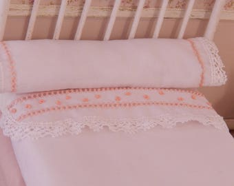 Sheet and pillow set, dollhouse, miniature, 1/12 scale