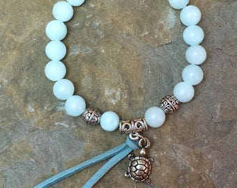 Mountain Jade Aqua OR Sea Opal, Beaded Bracelet, Turtle Charm & Leather Tie, Silver Accents, 7 Inch Stretch, Boho Beach