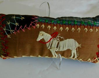 """Small Crazy Quilt Pillow - """"Giddy Up Sweet Pony"""""""