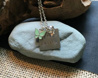 Little sister silver hand-stamped necklace