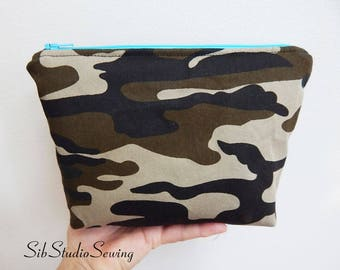 Woodland Camo Bag, 9 x 6 x 2 inches, Interior Vinyl Lined for Easy Clean, Zipper Closure, Padded, Camouflage Makeup Bag, Camo Cosmetic Bag