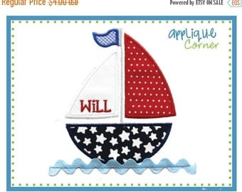 40% OFF INSTANT DOWNLOAD Sailboat with Ric Rack Water applique design in digital format for embroidery machine by Applique Corner