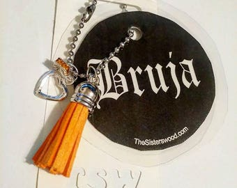 "BRUJA Black Laminated Purse or Planner Tag 3"" with Tassle ,Crystal and Heart Dangle"
