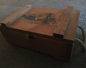 Old Wooden Storage Box with Rope Handles