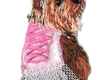 Dog - Yorkie -Terrier In Pink - Pet - Embroidered Iron On Applique Patch