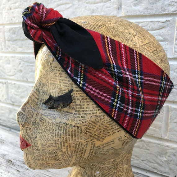 Royal Stewart Tartan Headscarf Rockabilly Pinup 1950's Inspired