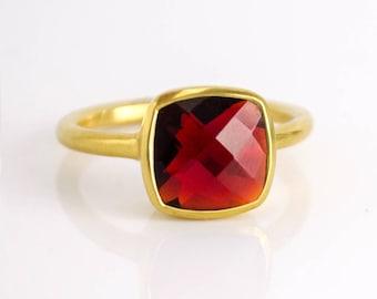 Garnet Ring, January Birthstone Ring, Gemstone Ring, Stacking Ring, Gold Ring, Bezel set ring Cushion Cut Ring garnet jewelry Christmas gift