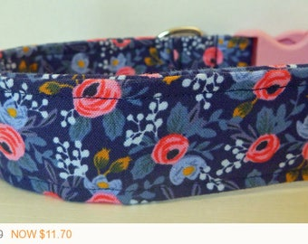 """Puppy Love Sale - 40% Off Dog Collar - Floral Girly - Vintage Blue with Pink and Blue Flowers Collar -""""Betsie"""" - Free"""