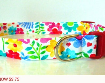"Sale - 50% Off - Watercolor Floral Dog Collar - Floral Dog Collar ""Veronica"" - Free Colored Buckles"