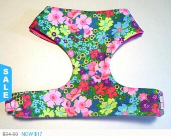 """Sale - 50% Off Summer Multi Floral Soft Dog Harness """"Rosalina"""" Pink Floral / Blue Floral - Soft on Your Dog"""