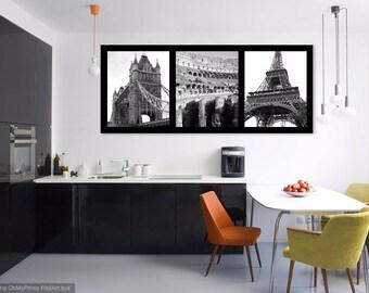 London Rome Paris New York Photography, Black and White Trio Photographs. Abstract. Tower Bridge Colosseum Eiffel Tower Flatiron Building