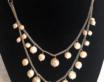 17% OFF SALE Vntg Pearl Chain Necklace/Freeform Natural Pearls/Double Row Necklace/