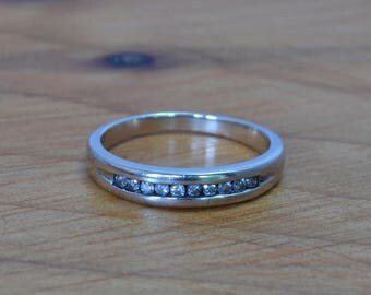 DEADsy LAST GASP SALE White Gold Channel Set Diamond Band // Vintage White Gold Wedding Ring // Unisex Diamond Wedding Band