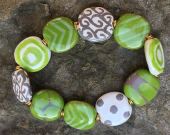 Kazuri bead bracelet hand painted fired ceramic from Kenya, Africa