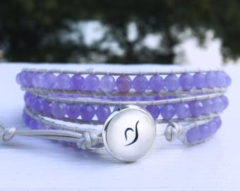 Eating Disorder Awareness Periwinkle Jade Triple Wrap Bracelet with Leather Cord, Recovery Symbol; 50% profits donated to Suicide Prevention