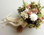 Bridal Bouquet, Dried Flower Bouquet, Vintage Wedding, Blush Wedding, Silk Wedding Bouquet, Boho Wedding, Blush Bouquet, DUSTY ROSE