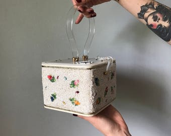 Vintage 50s White Beaded Box Purse Lucite Handle