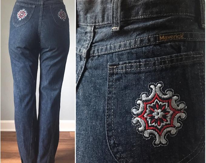 """Vintage 80s High Waist Denim Flower Pockets 36"""" Inseam"""