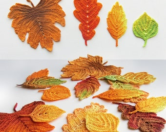 Crochet Pattern on SALE - Autumn leaves. Crochet leaf pattern. Crochet fall leaves thanksgiving decor. Autumn decorations, leaf appliques.