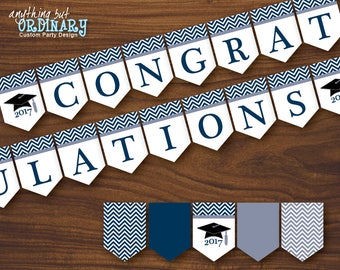 Navy and White Graduation Banner, Chevron Printable 2017 Congratulations Banner, INSTANT DOWNLOAD digital file