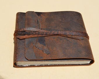 Distressed Pigskin Notebook Leather Bound Adventure Journal Handmade Art Sketchbook Watercolor Field Diary Ready to Ship (653)