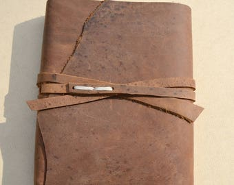 Distressed Brown Leather Bound Journal Handmade Notebook Personal Diary Ready to Ship Watercolor Art Sketchbook (687)