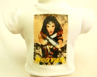 Wonder Woman Theme (3) Silver Glitter Transfer T-Shirt For 16 or 18 Inch Dolls Like The American Girl Or Bitty Baby