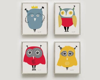 Owllovers gifts 4 MINI PRINTS Set of my bestselling owl illustrations as A5 size Signed by hand. - Art print by nicemiceforyou