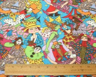 2 Yards Fabric Grumpy Girl and Cat with Dolls Harlequin Multi-color New Free USA Shipping