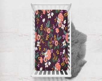 Crib Sheet in Birch Floral Eggplant, Rifle Paper Co Crib Sheet, Floral Fitted Crib Sheet, Rifle Paper Co, Fitted Crib Sheet, Crib Bedding