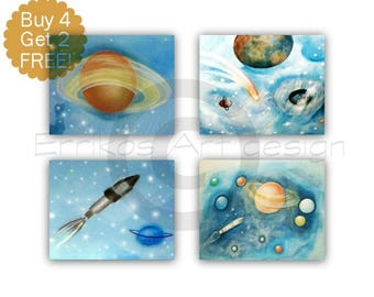 Outer Space Wall Art, Solar system, Kids Wall Art, Nursery Decor, Nursery Wall Art, Space Nursery, SET OF 4 Prints, Kids Art ,Space Decor